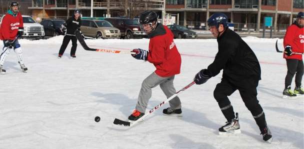 Players at CFB Trenton Pond Hockey