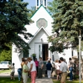 Guests attend Inter-denominational church service at Sacred Heart Catholic Church